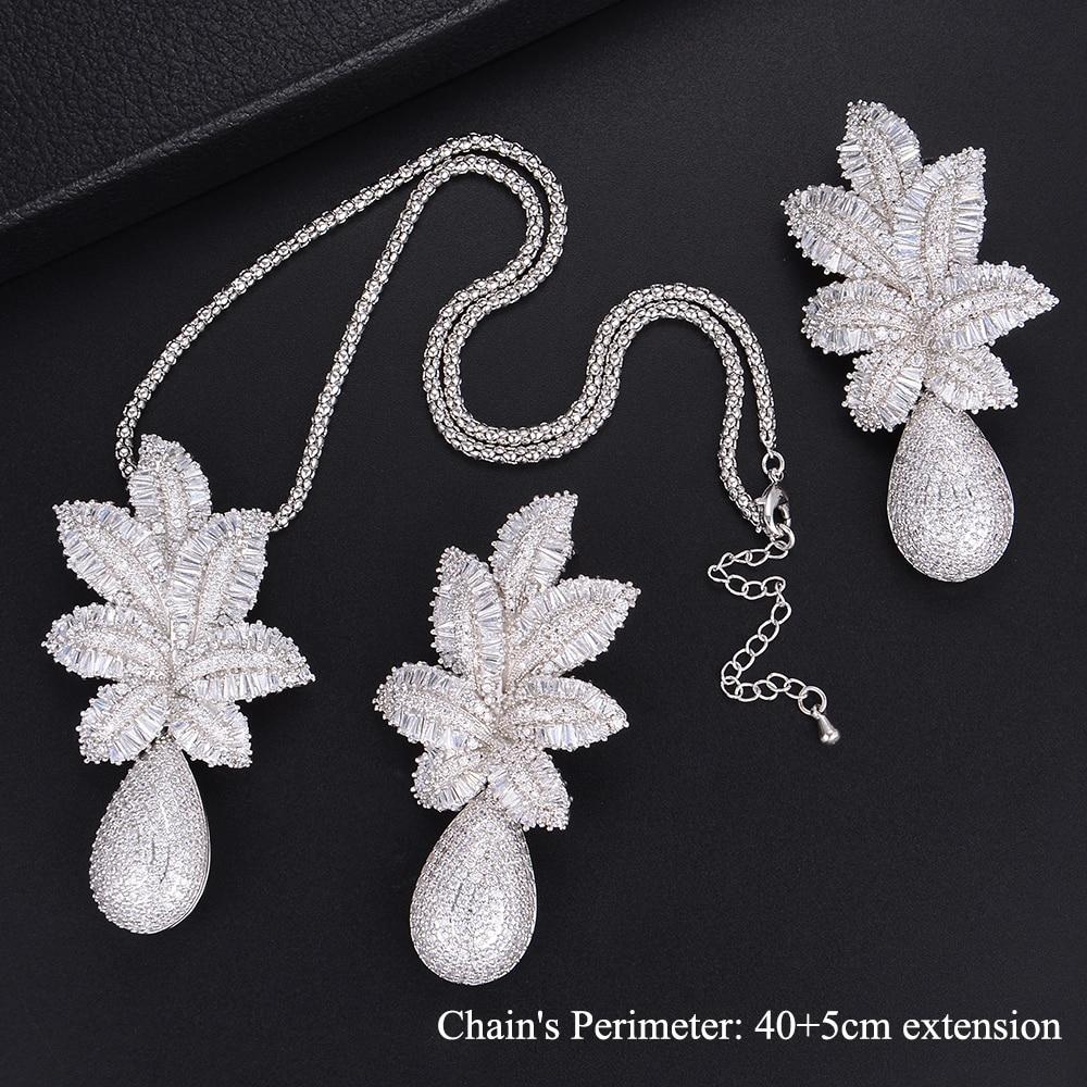 65 мм Мода завод листья Teardrop AAA CZ Длинные висячие серьги Цепочки и ожерелья наборы для Для женщин свадебные Обручение Jewlery