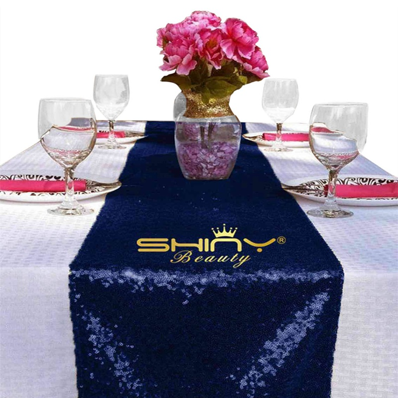 Us 7 32 11 Off Shinybeauty 12x108in Navy Blue Sequin Table Runner Navy Blue Table Runner For Wedding Chrsitmas Birthday Party Decoration Y9517 In