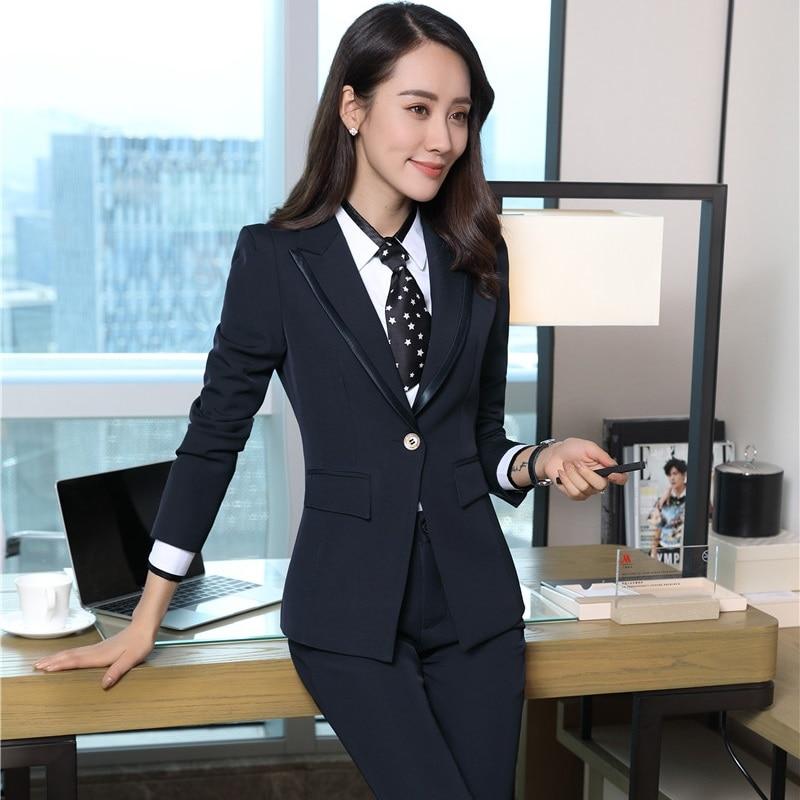 Formal Uniform Styles Female Pantsuits With Jackets And Pants For Business Women Ladies Blazers Pants Suits Plus Size Blue