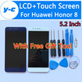 Para huawei honor 8 display lcd + de tela de toque 100% nova 5.2 polegada display painel de digitador de vidro da tela para huawei honor 8
