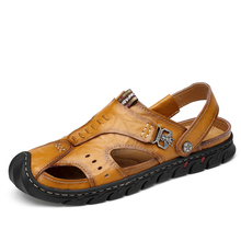 VKERGB  Genuine Leather Summer Men Sandals Black Brown Hand Sewing Breathable Beach Shoes Slippers 2 in 1