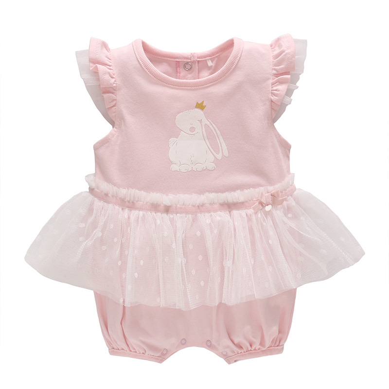 Baby Rompers Summer Short-sleeve Rabbit Pattern Newborn Clothes for Birthday Infant Cotton Romper dress Baby Girl Mesh Outfit 3pcs mini mermaid newborn baby girl clothes 2017 summer short sleeve cotton romper bodysuit sea maid bottom outfit clothing set