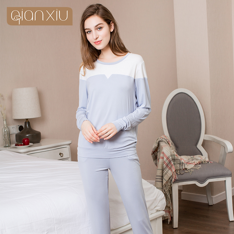 afce998e4d Qianxiu Real Sale Solid Cotton Pajamas Ladies Pyjamas Women Cotton  Homedress Spring Letter Print Pajama Sets 17105-in Pajama Sets from  Underwear ...