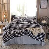 BEST.WENSD Bedding set black white plaid modern super soft sheet set 150*200cm 180*220cm 200*230cm 220*240cm bed cover set 2019