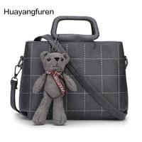 Frühling Neue Vintage Plaid Frauen Umhängetaschen Mit Niedliche Bären Spielzeug Koreanische Mode-stil Niedlichen Frauen Tasche Messenger Handtasche Q5