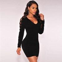 TAUPIN AM 2017 Hot Sale Autumn Party Dress Black Lace Up Long Sleeve Dress Women Vestidos