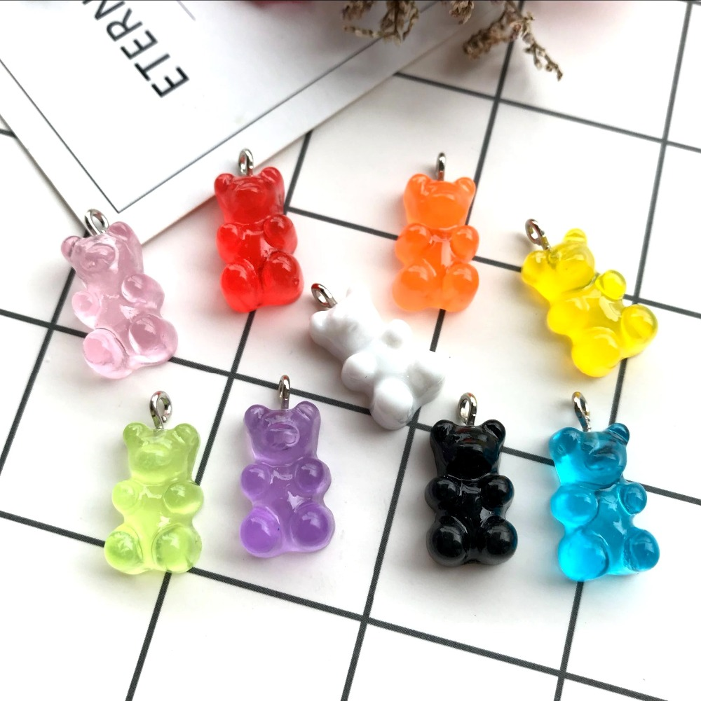 ZALEBABA 10pcs 18*10mm cute gummy bear flat back resin