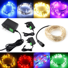 TSLEEN AC110~240V US EU UK Plug LED Silver String Outdoor Light Christmas Fairy Light 5M 100LEDS Starry Lights With Micro LEDS