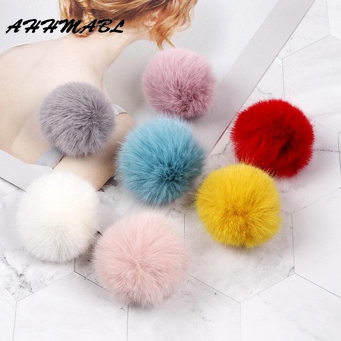 6pcs/lot 5cm Faux Fox Fur Pompom Artificial Fur Balls Fur Pom Poms For Hats Cap Fur Pompon For Scarf Gloves Keychain R26