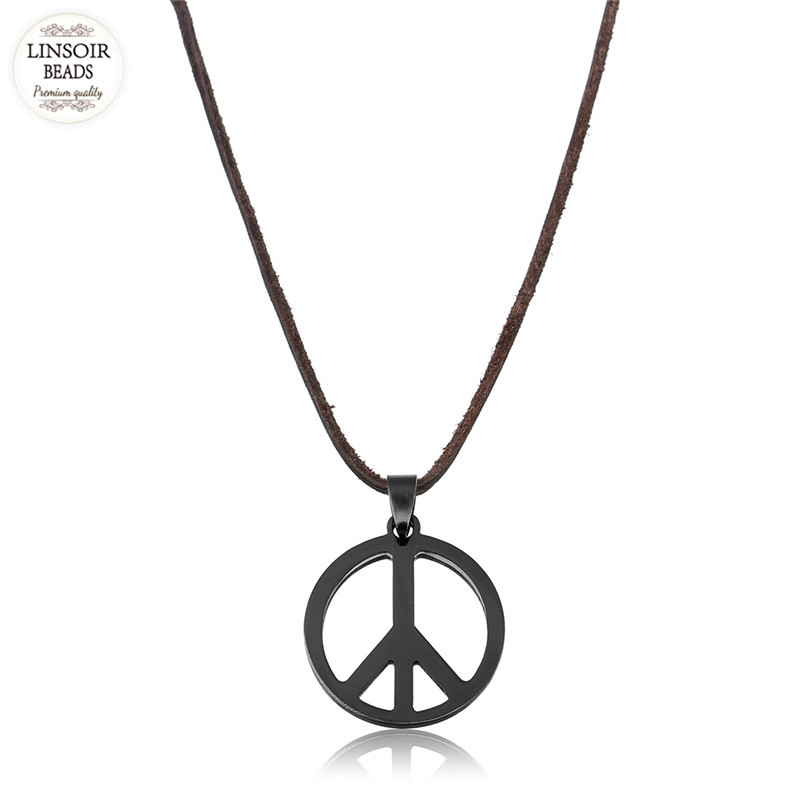 Linsoir black hollow out peace sign love hippie pendant stainless linsoir black hollow out peace sign love hippie pendant stainless steel necklace mens brown genuine leather necklace jewelry in chain necklaces from jewelry audiocablefo