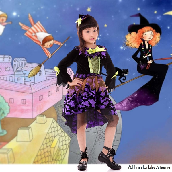 Cosplay Halloween Child Clothing Purple Witch Wom Clothing Girl Clothing Animals Witch Dress