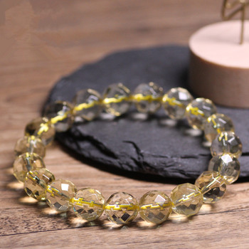 6e0984dd1cbf Piedras Naturales pulsera citrino 64 faceta cuarzo cristal amarillo grano  redondo hombres mujeres pulsera Healing energía regalo joyería afortunada