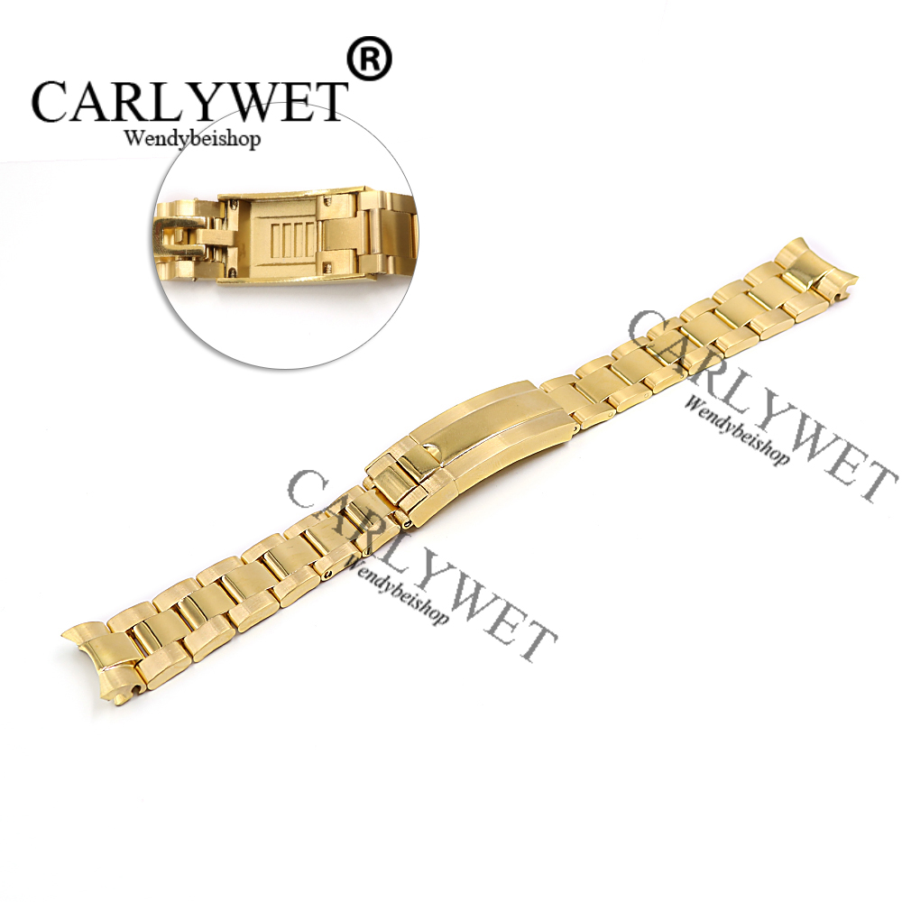 CARLYWET 20mm Gold Stainless Steel Solid Curved End Screw Links New Style Glide Lock Clasp Steel Watch Band Bracelet Strap 20 21mm solid curved end stainless steel screw links wrist watch band bracelet strap glide flip lock deployment clasp buckle