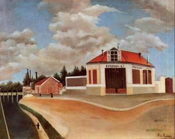 High quality Oil painting Canvas Reproductions The chair factory at Alfortville (1897)0  by Henri Rousseau painting hand painted
