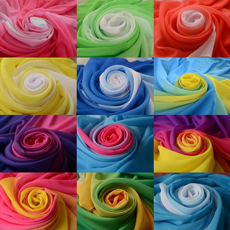 100d 2 tone rampa chiffon material gradual gradiente chiffon sheer tecido sombreado cor estágio tecido