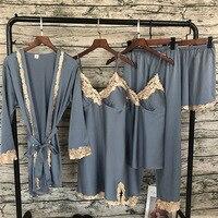 2019 Women Pajamas Satin Sleepwear 5 Pieces Pajamas set Sexy Lace Pajamas Sleep Lounge Pijama Silk Night Home Clothing Suit