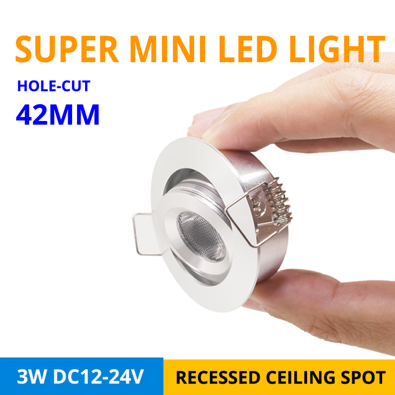 9pcs/lot 3W Mini Recessed LED Downlighters DC12-24V Home Kitchen High Quality Small Platfond Buried Spot LED Lamp Hole-cut D42mm