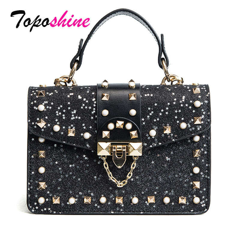 Korean Version of the Spring Wild Bag Female Fashion Simple Small Square Casual Personality Rivet Shoulder Messenger Bag Tide qiaobao 2018 new korean version of the first layer of women s leather packet messenger bag female shoulder diagonal cross bag