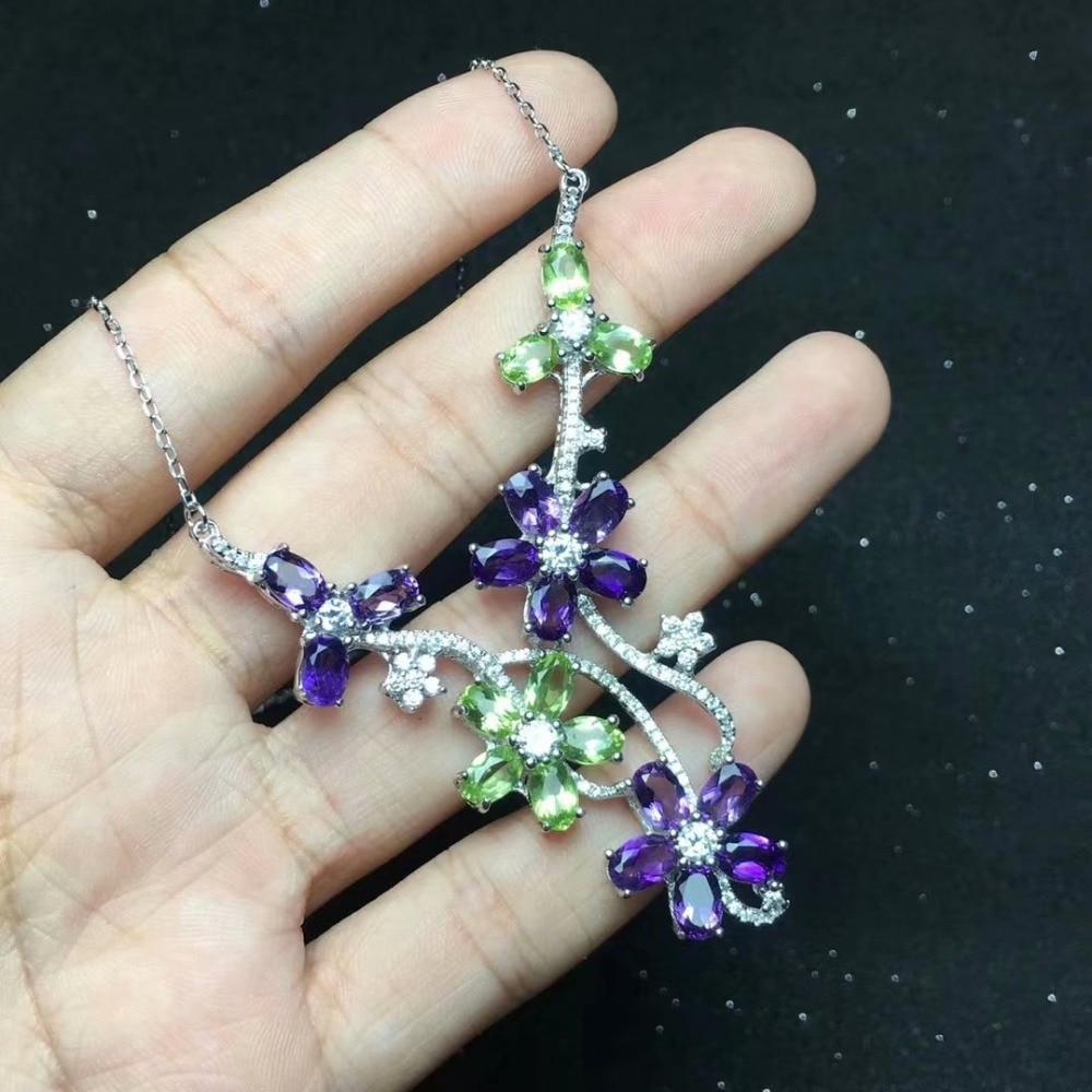 Natural Green Peridot Necklace Natural Amethyst Pendant