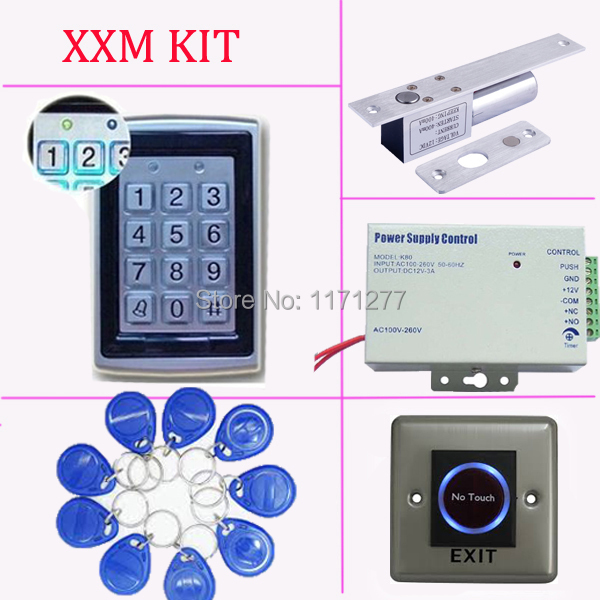 Metal case access control kit with power supply EM lock and exit button отсутствует metal supply