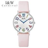 Карнавал люксовый бренд часы для женщин Швейцарский импортный КВАРЦ ДВИЖЕНИЕ женские часы водонепроницаемые из натуральной кожи reloj hombre