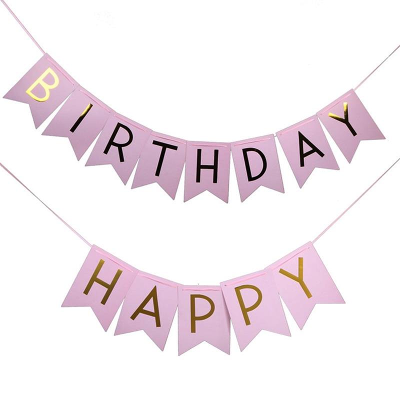 Партия 1шт игрушки шляпа пастельный розовый счастливый баннер день рождения подвесные игрушки золотые буквы фото опора овсянка Garland Свадебная вечеринка игрушки Игрушки