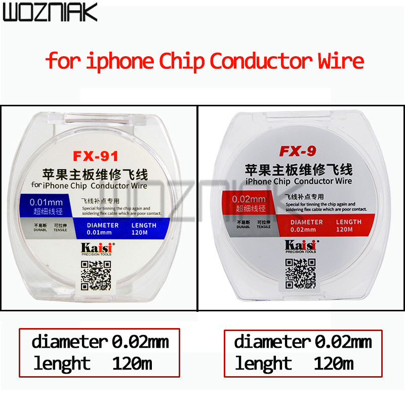 For iPhone Chip conductor Wire 0.01mm 0.02mm Enameled Copper Wire motherboard repair CPU fly-break soldering flex cable
