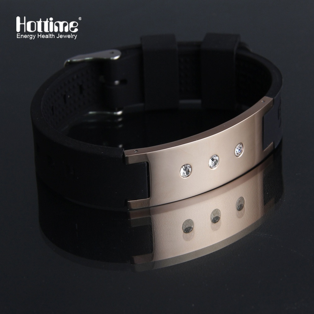 Anti SnoringSilicone Energy Sports Bracelet with 3 Crystal Statement Stainless Steel Bangle Negative Ion Watch Band fashion 2019Anti SnoringSilicone Energy Sports Bracelet with 3 Crystal Statement Stainless Steel Bangle Negative Ion Watch Band fashion 2019