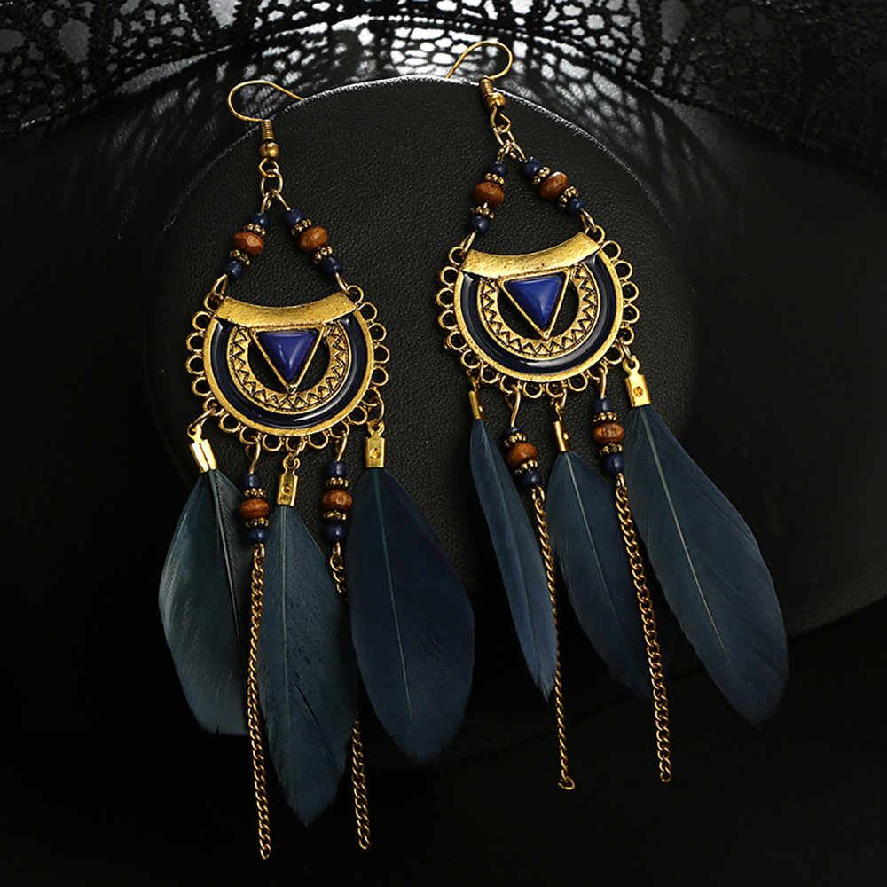 Women Earrings Vintage Fashion Jewelries Ornaments Tassel Earrings Ethnic Style Feather Long Earring Exquisite Bijoux Pendant