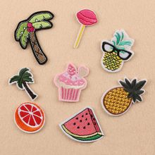 1pcs/8pcs diy fruit Embroidered Patches Large Size for Clothes Ironing Sew Appliques for Jackets Bag Shoes Sticker Badges cp1604(China)