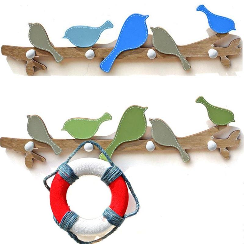 Hot American Country Birds Hanging Solid Wood Hanging Hooks Creative Essentials Wall Mount Decorative Coat Rack A20