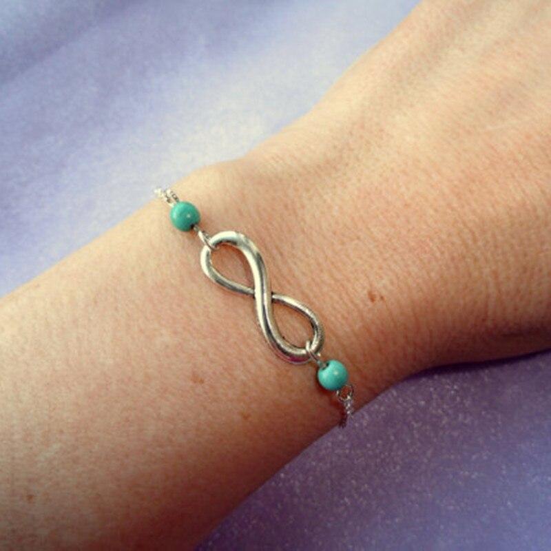 New Fashion Good luck Infinity Bracelet for Women with Crystal Stones Bracelet Infinity Number 8 Chain Bracelets bileklik