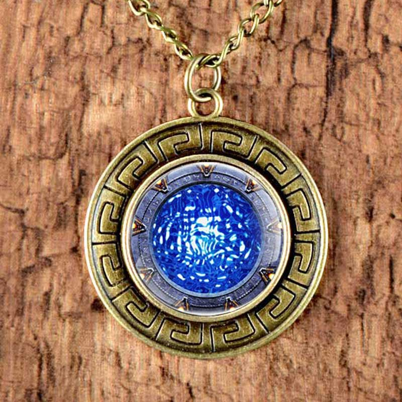 Vintage Stargate Atlantis Design Necklace Pendant Steampunk Jewelry Sweater Chain Long Necklace 80cm Mens Women Gifts Retro