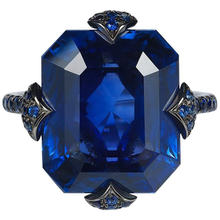 Женские роскошные кольца с темно синим квадратным кристаллом