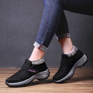 Image 5 - STQ 2020 חורף נשים שלג מגפי נשים נעלי פלטפורמה חמה שחור קרסול מגפי נקבה גבוהה טריז עמיד למים הליכה 1851