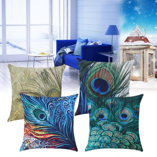 Linen Cushion Covers 45x45cm Throw Pillowcase Cushion Covers 4Types Peacock  Feather Decorative Pillows Home Decor