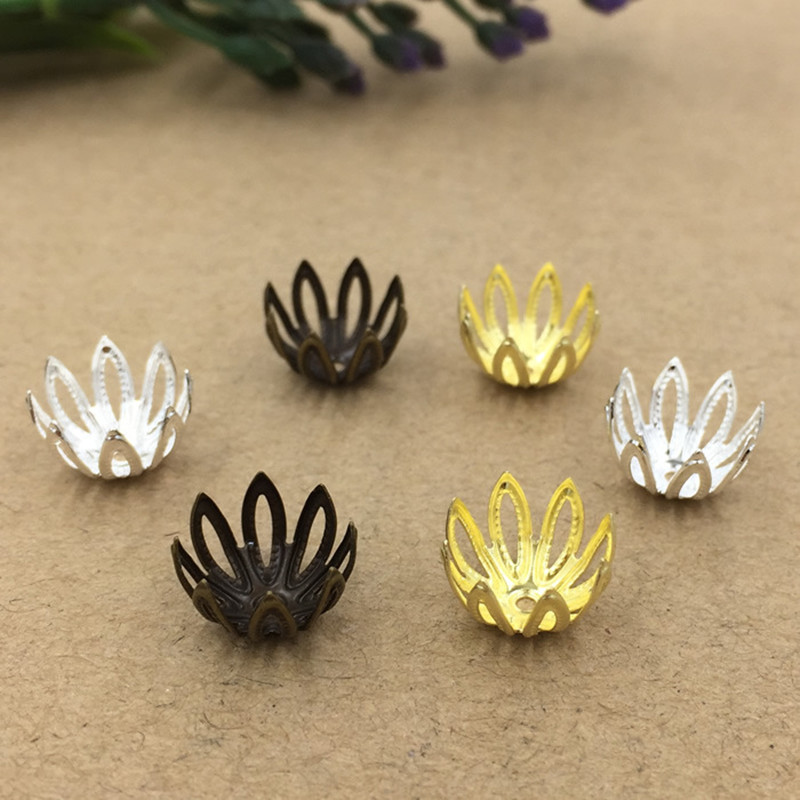 12mm Fashion Hollow Out Flowers Bead Caps Filigree Connectors DIY Jewelry Making cy2123