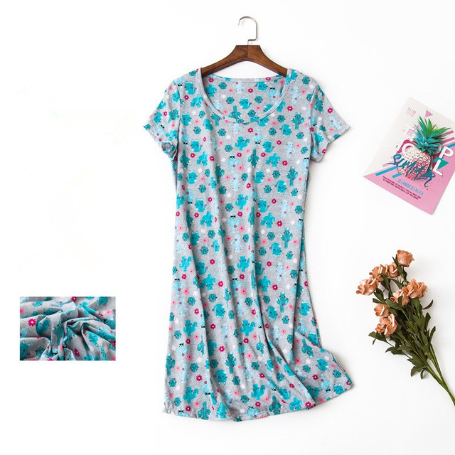 1c83584280b7 Women sweet simple nightgowns cute cactus printed green color round neck  summer brief sleep dress softy cotton for ladies
