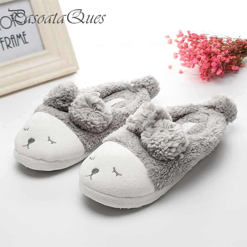Big Size 6 10 Cute Sheep Animal Women Home Slippers For Girls Ladies Indoor Bedroom Cotton