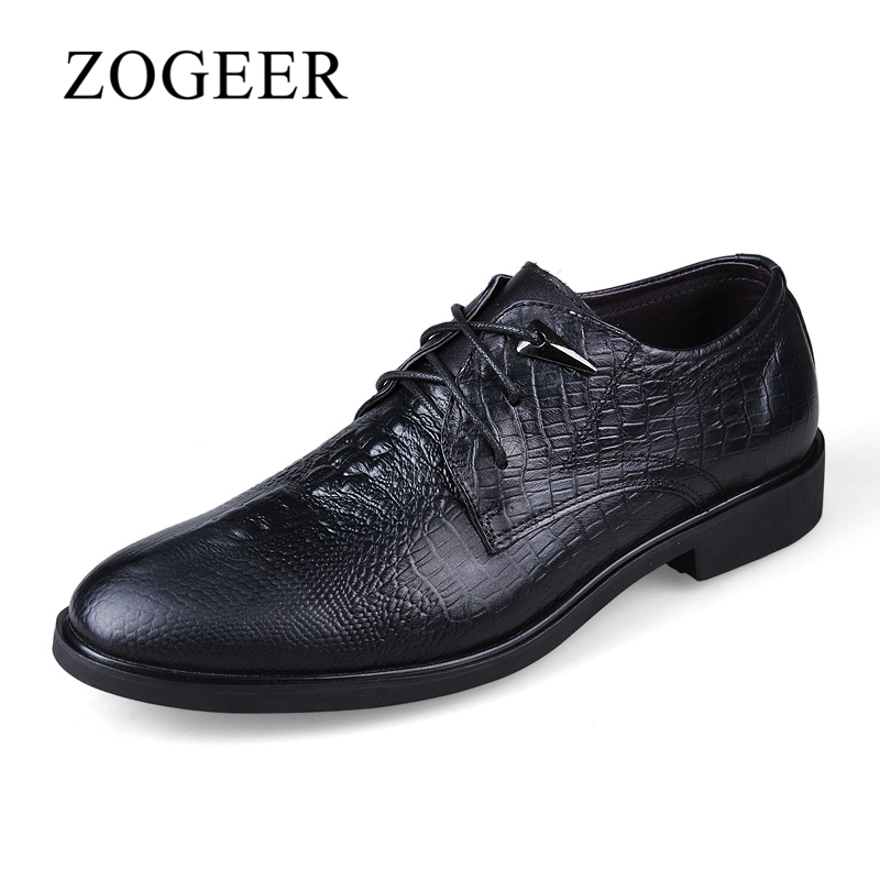 ZOGEER Big Size 38-47 Crocodile Mens Dress Shoes, Genuine Leather Men Oxfords, New Lace Up Oxford Shoes For Man 2017 new italian modern men formal oxford shoes genuine leather crocodile print brown lace up dress men s footwear 1815 810