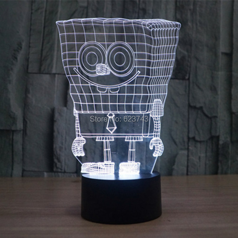Free Shipping 7 Color changing 3D SpongeBob Squarepants Plastic LED - Night Lights - Photo 1