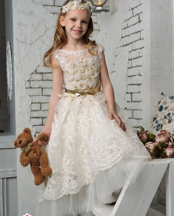Vintage Ivory White Flower Girl Dress with gold belt Toddler Robe Communion Dress Custom Any Size flower embroidered cami dress with robe