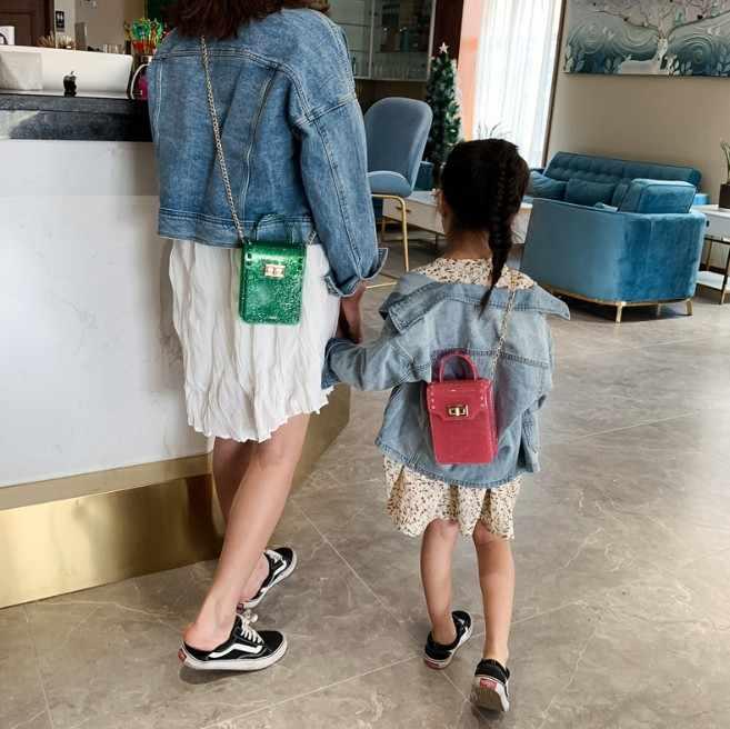 Cô Gái trẻ Túi Túi Crossbody Cô Gái Chọn PVC Trẻ Em Vai Thời Trang Mini Trẻ Em Công Chúa Túi Xách Phụ Nữ mùa hè điện thoại di động T-5975