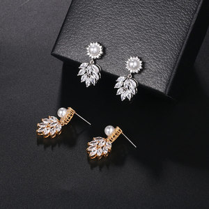 Image 5 - WEIMANJINGDIAN Simulated Shell Pearl and Cubic Zirconia CZ Crystal Necklace & Earring Jewelry Set for Wedding Bridal Jewelry