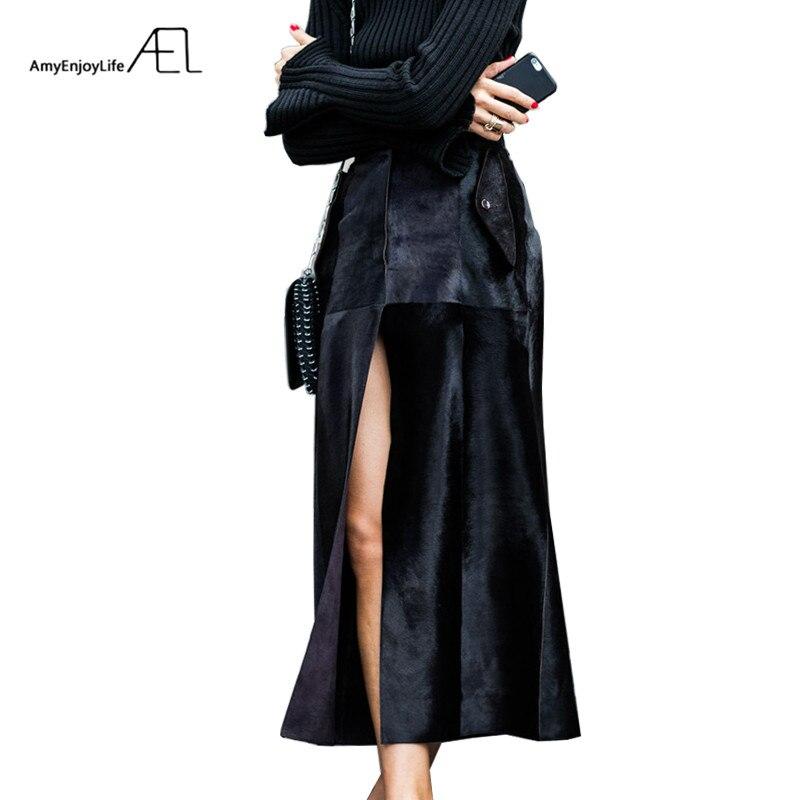 AEL Black Velvet Slit Skirt New Year Spring Women Saia Midi Fashion Elegant Female Clothing Blogger