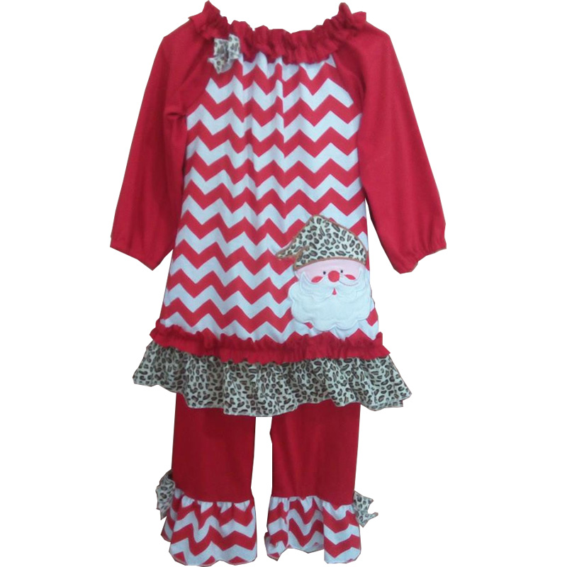 Best Price Chevron Leopard Santa Tee Shirt Ruffle Pants Cheap Christmas Baby Girls Mustard Pie Fall Boutique Outfits C017
