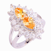 New Fashion Baroque Style Rings Champagne Morganite 925 Silver Ring Size 6 7 8 9 10 For Women Jewelry  Wholesale Free Shipping