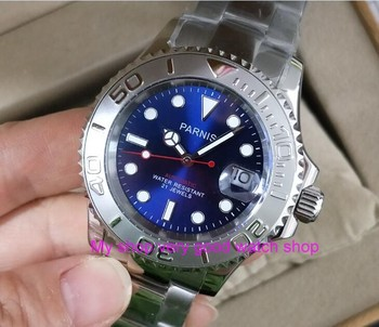 41mm parnis blue dial Sapphire crystal 5Bar waterproof  automatic mechanical movement men's watch Mechanical watches 269
