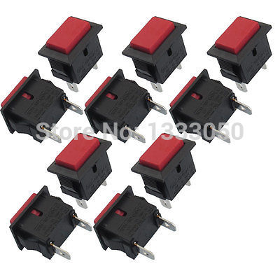 FREE SHIPPING 10 Pcs AC 250V/6A 125V/10A 2 Pin SPST Red Button Momentary Rocker Switch 1NO PBS-101 9 pcs panel mount 2 pin spst rocker switch ac 16a 250v ac 10a 125v