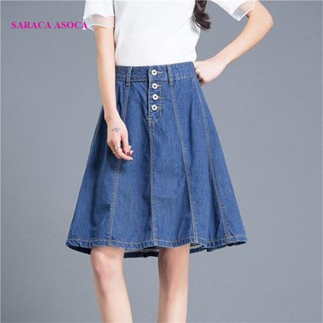 Preppy Style Jean Knee Length Short Skirt Girls Spring Summer High